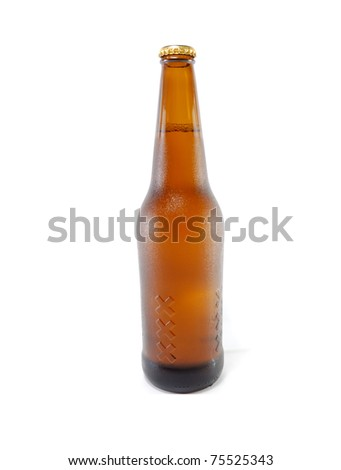 brown bottle of beer with drops are isolated on a white background