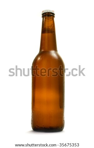 brown bottle with beer; object on a white background - stock photo