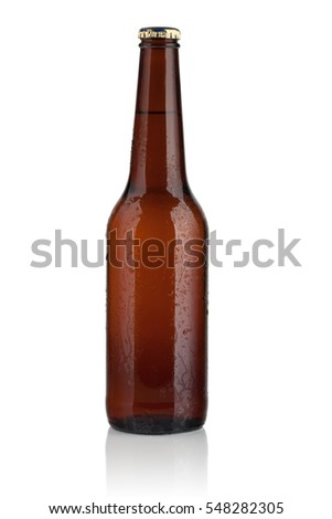 brown bottle with beer on white background