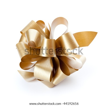 Brown bow. Isolated on the white background - stock photo