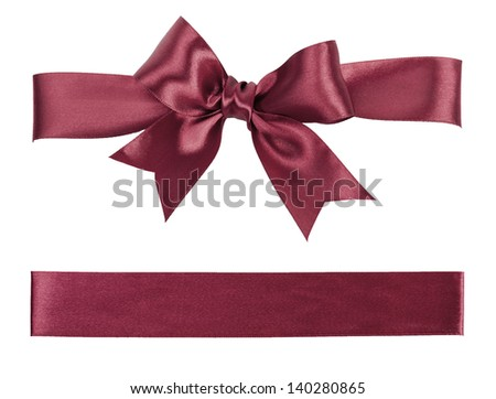 brown bow made from silk ribbon - stock photo