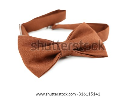 Brown bow tie isolated on a white - stock photo
