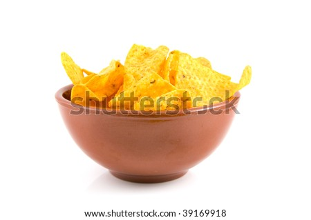 Brown bowl with tortilla chips isolated on white background - stock photo