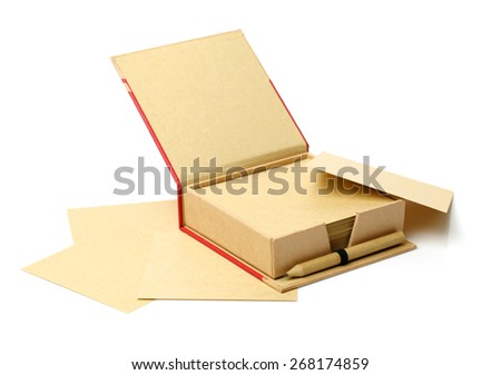 brown box and brown paper note place on white background - stock photo