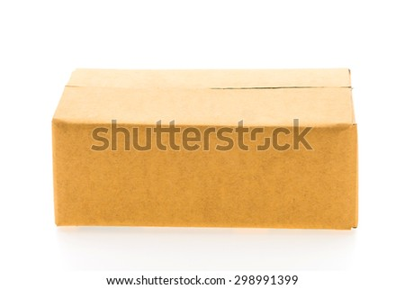 Brown box isolated on white background - stock photo