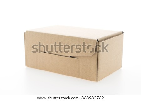Brown box mock up isolated on white background - stock photo