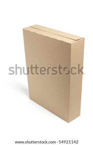 Brown Box on Isolated White Background