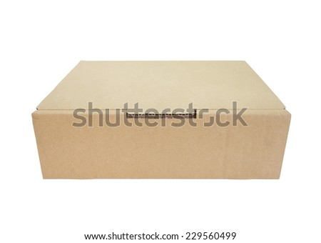 Brown box paper isolated on a white background