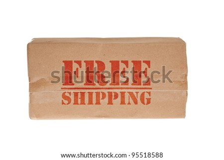 brown box with tape for free shipping