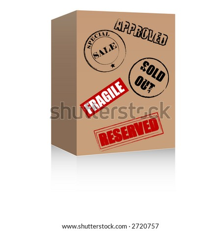 Brown box with various symbols. Raster format. - stock photo