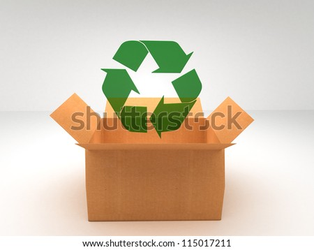 brown boxes recycle - stock photo