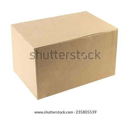 brown boxes recycle isolated on white. - stock photo