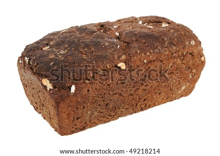 Brown bread isolated on white background - stock photo