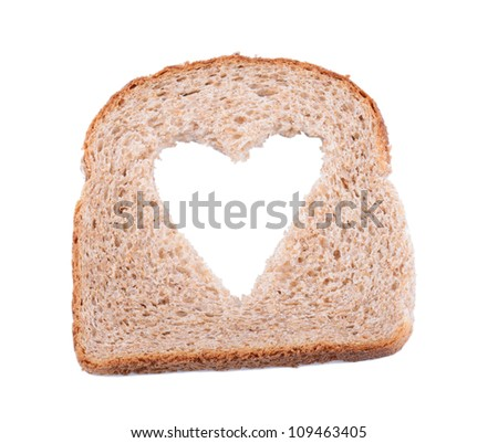 brown bread slice with symbol of heart for heathly living