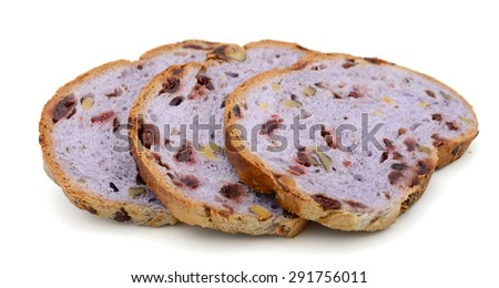 brown bread slices on white background  - stock photo