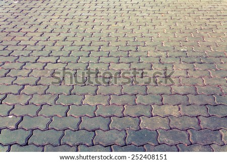 Brown brick pathway  in the park - stock photo