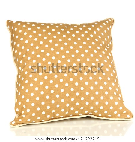Brown bright pillow isolated on white - stock photo