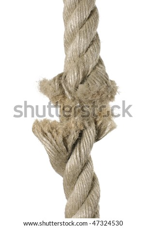 Brown broken rope concept image - stock photo