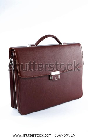 Brown business briefcase - stock photo