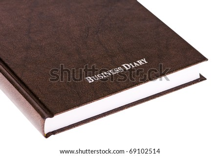 brown business diary isolated on white background