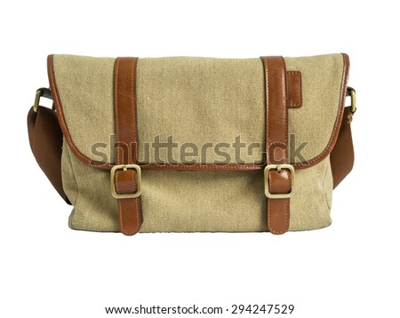 Brown camera-bag isolated on the white background. Clipping path. - stock photo