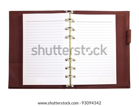 Brown canvas binder notebook isolated on white