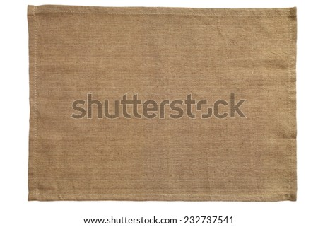 Brown canvas tablecloth isolated on white background - stock photo