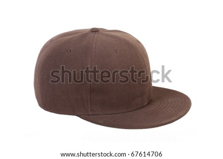 brown cap isolated on white background - stock photo