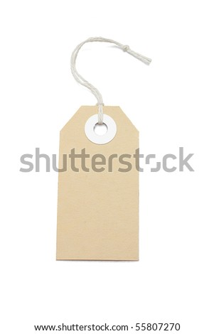Brown card price tag on white background - stock photo