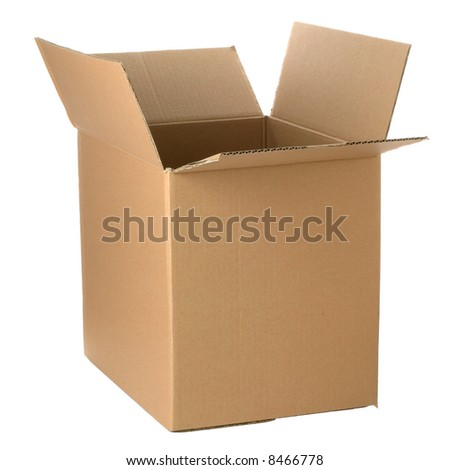 Brown cardboard box, add your own design or logo.  Isolated on white. - stock photo