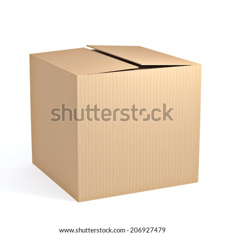 Brown cardboard box isolated on white background - stock photo