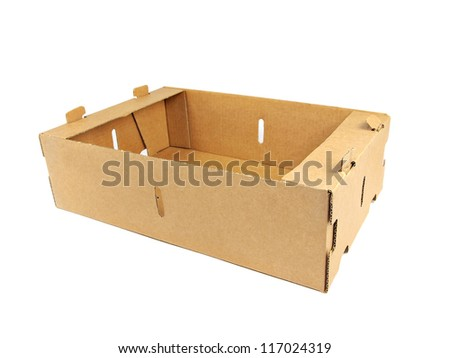 Brown Cardboard box on a white background - stock photo