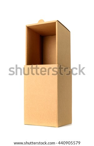 Brown cardboard box package with cover, isolated with soft shadow on white background - stock photo