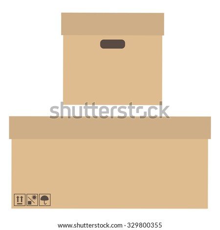 Brown, cardboard boxes with handles and symbols keep dry, fragile, no sun front and side view raster - stock photo