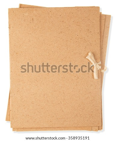 brown, cardboard folders isolated on white background - stock photo