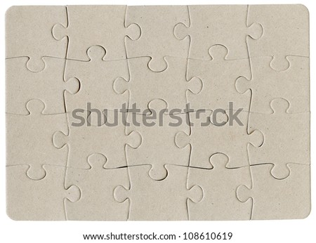 Brown cardboard jigsaw puzzle isolated on white - stock photo