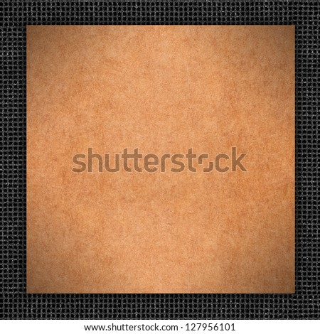 brown carton background in grey grid pattern frame or cardboard rough texture with black border