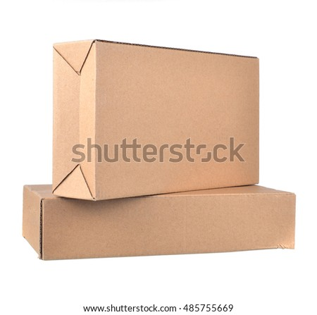 Brown carton box isolated on white background.