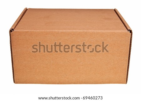 Brown carton box isolated over white background. - stock photo