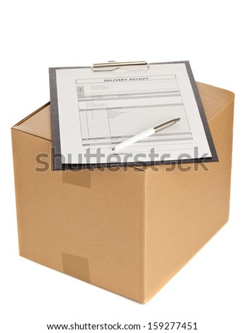 Brown carton box with clipboard and package delivery form on white background - stock photo