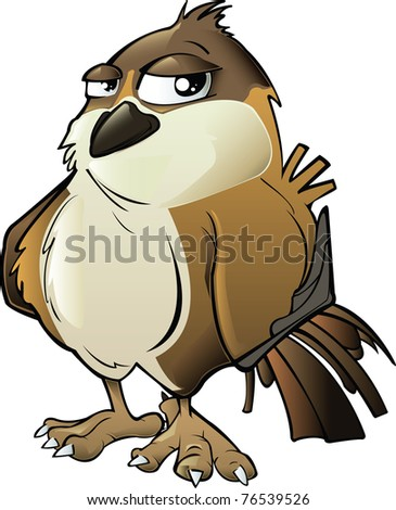 Brown Cartoon Sparrow isolated on White Background - stock photo