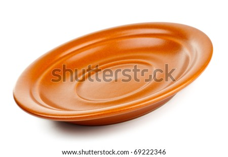 brown ceramic saucer isolated on white background