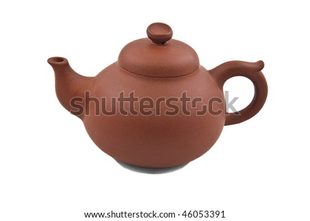brown ceramic teapot isolated on white
