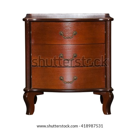 Brown chest of drawers isolated on white background - stock photo