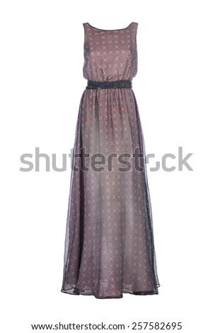 brown chiffon evening dress on white background - stock photo