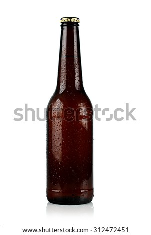 brown chilled bottle of beer on a white background. - stock photo