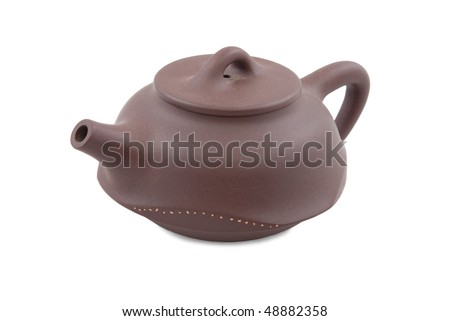 brown chinese teapot isolated on white
