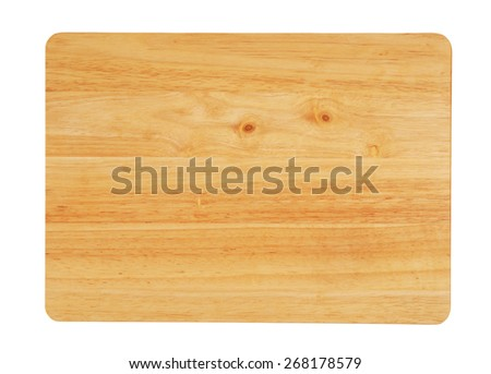 Brown chopping board isolated on white background - stock photo