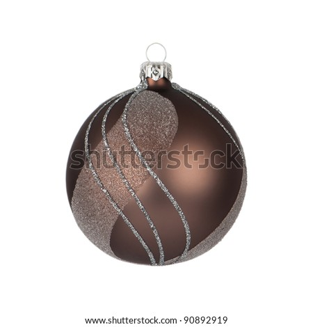 brown christmas bauble isolated on white - stock photo