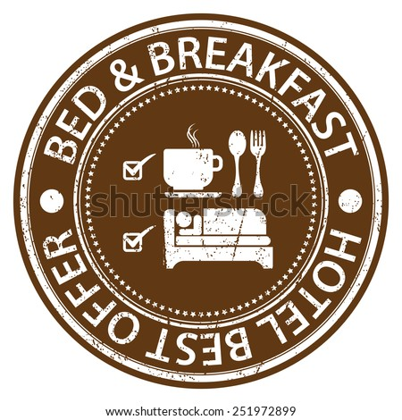 Brown Circle Bed & Breakfast Hotel Best Offer Grunge Sticker, Rubber Stamp, Icon, Tag or Label Isolated on White Background - stock photo